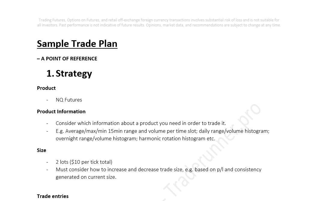Sample futures trading plan for Options trading plan template